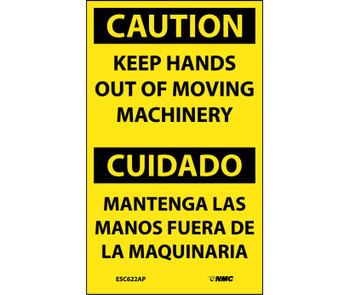 Caution Keep Hands Out Of Moving Machinery Bilingual 5X3 Ps Vinyl 5/Pk
