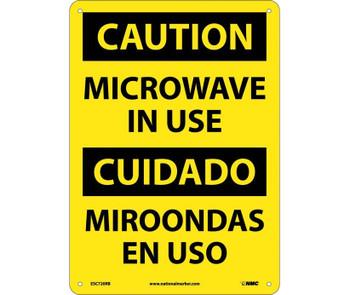 Caution Microwave In Use Bilingual 14X10 Rigid Plastic