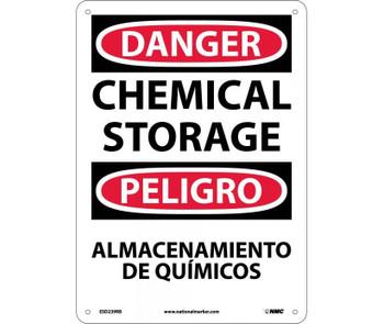 Danger Chemical Storage Bilingual 14X10 Rigid Plastic