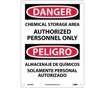 Danger Chemical Storage Area Authorized Personnel Only (Bilingual) 14X10 Rigid Plastic