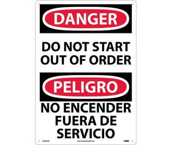Danger Do Not Start Out Of Order (Bilingual) 20X14 Rigid Plastic