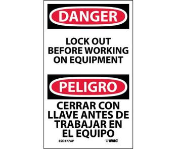 Danger Lockout Before Working On Equipment Bilingual 5X3 Ps Vinyl 5/Pk