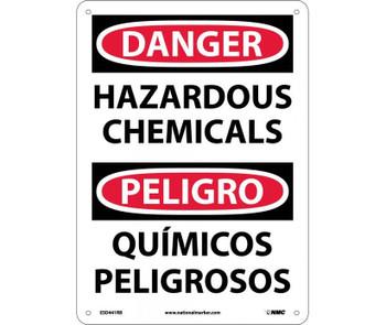 Danger Hazardous Chemicals Bilingual 14X10 Rigid Plastic