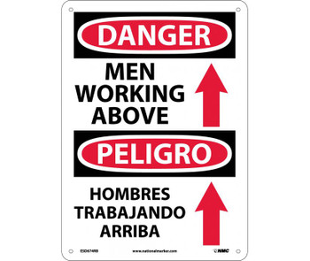 Danger Men Working Above (Graphic) Bilingual 14X10 Rigid Plastic