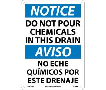 Notice Do Not Pour Chemicals In This Drain (Bilingual) 14X10 Rigid Plastic