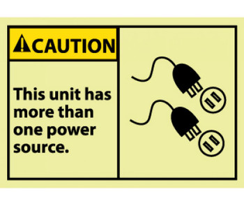 Caution This Unit Has More Than One Power Source 3X5 Ps Vinylglow 5/Pk