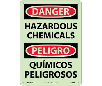 Danger Hazardous Chemicals Bilingual 14X10 Glo Rigid Plastic