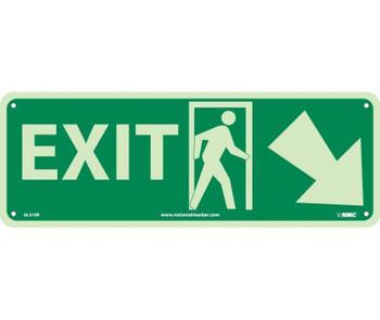 Exit (W/ Door And Right Down Arrow) 5X14 Glow Rigid