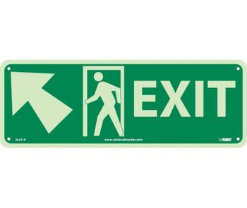 Exit (W/ Door And Left Up Arrow) 5X14 Glow Rigid