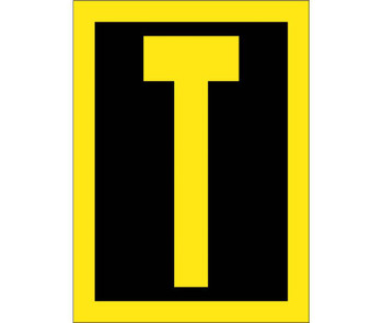 Letter T 1.5 High Visibility Yellow Black Ps Vinyl