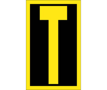 Letter T 2.5 High Visibility Yellow Black Ps Vinyl