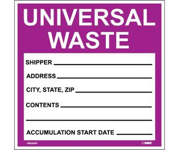 Labels Hazardous Materials Shipping Universal Waste 6X6 Ps Vinyl 25/Pk