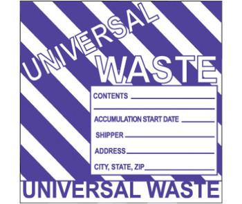 Labels Hazardous Materials Shipping Universal Waste Stripes 6X6 Ps Vinyl 500/Roll
