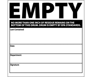 Labels Empty..No More Than One Inch Of Residue Remains On The Bottom Of This Drum..Drum Is Empty By Epa Standards .. 6X6 Ps Vinyl 500/Roll