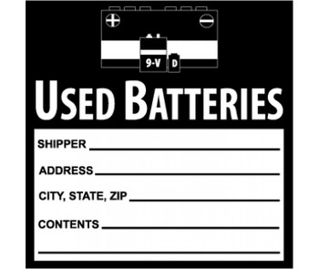 Labels Used Batteries 6X6 Ps Vinyl 500/Roll