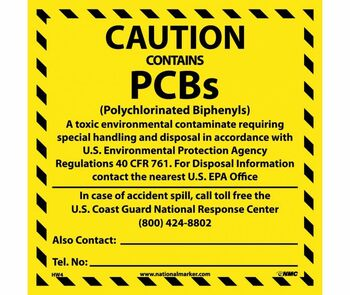 Labels Caution Contains Pcb'S. . .. 6X6 Ps Vinyl 25/Pk
