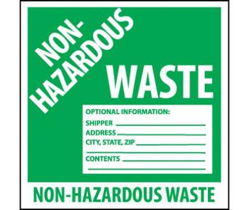 Labels Non Hazardous Waste 6X6 Ps Vinyl 500/Roll