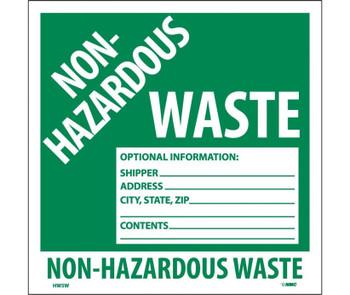 Labels Non-Hazardous Waste 6X6 Ps Vinyl 25/Pk