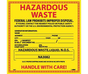 Labels Hazardous Waste (For Liquids) 6X6 Ps Vinyl 25/Pk