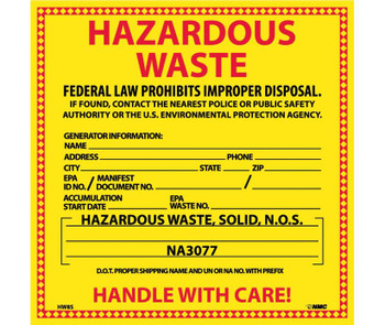 Labels Hazardous Waste (For Solids) 6X6 Ps Vinyl 25/Pk