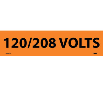 Electrical Markers 120/208 Volts 2.25X9 Ps Vinyl 25/Pk