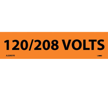 Electrical Markers 120/208 Volts 1.125X4.5 Ps Vinyl 25/Pk