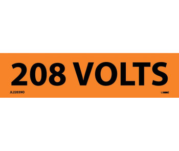 Electrical Markers 208 Volts 1.125X4.5 Ps Vinyl 25/Pk