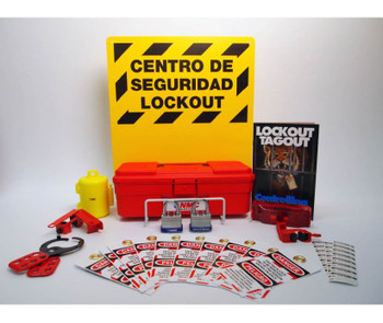 Bilingual Electrical Lockout Center Complete Bilingual Yellow Board Wire Basket Tool Box & Contents 16X14