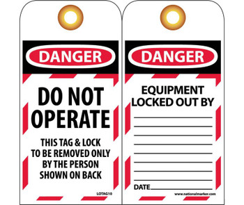 Tags Lockout Danger Do Not Operate This Tag & Lock. . . 6X3 Unrip Vinyl  Grommet Pack Of 10