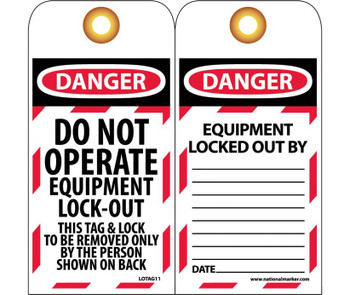 Tags Lockout Danger Do Not Operate Equipment Lock-Out. . . 6X3 Unrip Vinyl   Grommet Pack Of 10