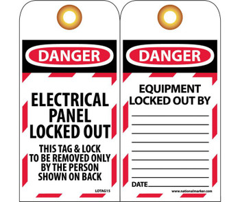Tags Lockout Danger Electrical Panel Locked Out. . . 6X3 Unrip Vinyl    Grommet Packof 10