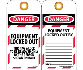 Tags Lockout Danger Equipment Locked Out. . . 6X3 Unrip Vinyl   Grommet Pack Of 10