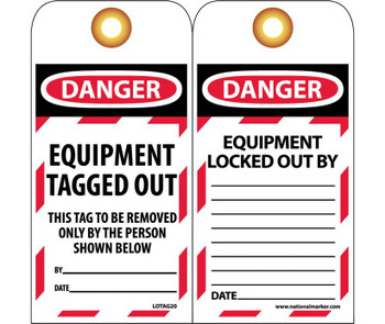 Tags Lockout Danger Equipment Tagged Out . . . 6X3 Unrip Vinyl   Grommet Pack Of 10