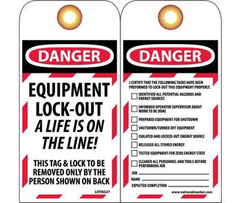 Tags Lockout Danger Equipment Lock-Out. . . 6X3 Unrip Vinyl   Grommet Pack Of 10