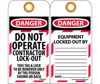 Tags Lockout Danger Do Not Operate Contractor Lock-Out 6X3 Unrip Vinyl Grommets  10 Pk