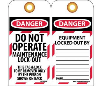 Tags Lockout Danger Do Not Operate Maintenance Lock-Out 6X3 Unrip Vinyl   Grommet  10 Pk