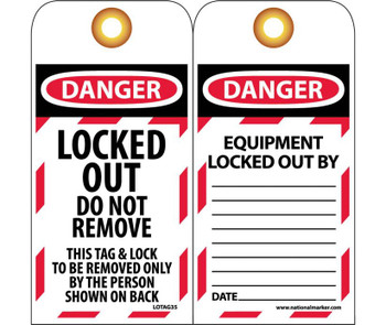 Tags Lockout Danger Locked Out Do Not Remove 6X3 Unrip Vinyl Grommet 10 Pk