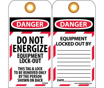 Tags Lockout Do Not Energize Equipment Lock Out 6X3 Unrip Vinyl 25/Pk  Grommet