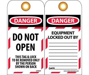 Tags Lockout Danger Do Not Open. . . 6X3 Unrip Vinyl Grommets Pack Of 10