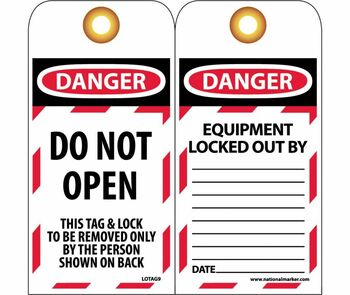 Tags Lockout Do Not Open 6X3 Unrip Vinyl 25/Pk     Grommet