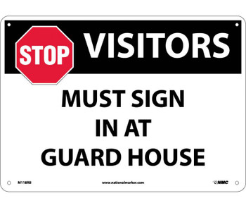 Stop Visitors Must Sign In At Guard House Graphic 10X14 Rigid Plastic
