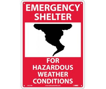 Emergency Shelter For Hazardous Weather Conditions Graphic 14X10 Rigid Plastic