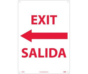 Exit Left Arrow Bilingual 20X14 Rigid Plastic