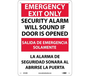 Emergency Exit Security Alarm Will Sound If Door Is Opened Bilingual 14X10 Rigid Plastic