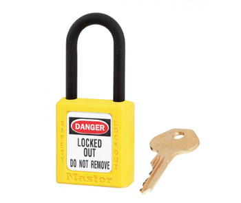 """Padlock Dielectric Yellow 1 1/2""""W 1 3/4""""H Body 1 1/2"""" Shackle Clearance"""