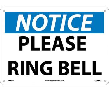 Notice Please Ring Bell 10X14 Rigid Plastic