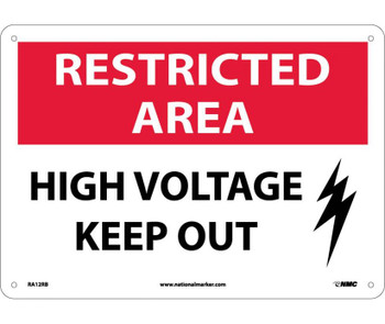 Restricted Area High Voltage Keep Out Graphic 10X14 Rigid Plastic