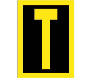 Letter T 1.5 Reflective Yellow Black Ps Vinyl