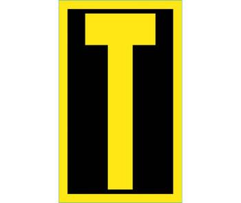 Letter T 2.5 Reflective Yellow Black Ps Vinyl
