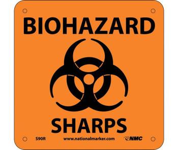 Biohazard Sharps (W/ Graphic) 7X7 Rigid Plastic